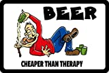 ComCard Beer Cheaper Than Therapy! Bier billiger als Therapie!….lustig Schild aus Blech, Metal Sign, tin Comic Alkohol