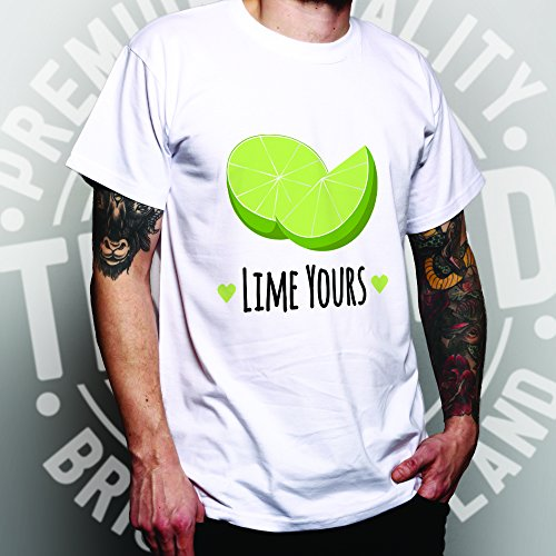 Lime Yours Nette Paare Valentines Love Heart Herren T-Shirt Bottle Green