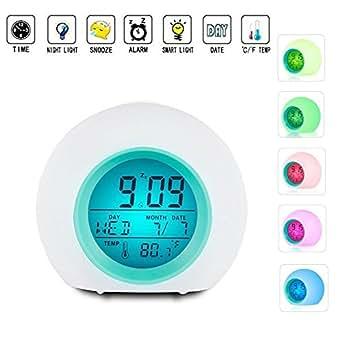 Sveglia LED a sveglia con l'orologio di temperatura per i bambini adulti gli adolescenti, la luce colorata in combinazione con la melodia Musica Naturale, invia Nature Change 7 colori di