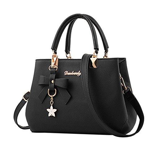 Kangrunmy piero guidi borse tracolla,donna in pelle borsa spalla borsa messenger cartella spalla crossbody (nero)