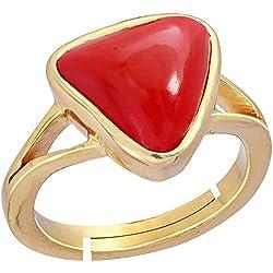 Gemorio Trikona Coral Moonga 6.5cts or 7.25ratti stone Panchdhatu Adjustable Ring For Women