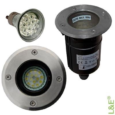 Bodeneinbaustrahler LED, Bodenleuchte mit GU10 Fassung mit 1,4 Watt LED Leuchtmittel, Lichtfarbe: kaltweiss, 230V, Bodeneinbauleuchte mit rundem Edelstahl Abdeckring. Rund. IP67. Bodenlampe inklusive klarer und satinierter Glasabdeckung. von L&E® - quick