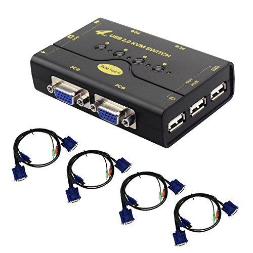 KVM Switch VGA Box 4 porte con supporto hub USB Connessione tastiera e pulsante wireless