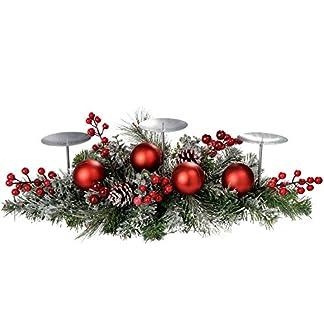 WeRChristmas 52 cm Centro de Mesa con Juego de 3 Portavelas de Navidad