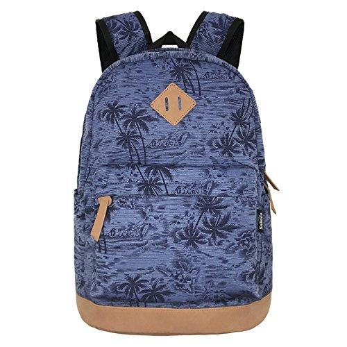 SAMGOO Unisex Leinwand Einfache Rucksäcke Daypack mit 15.6 Zoll Laptopfach Freizeitrucksack Schulrucksack (Blau Kokosnussbäume)