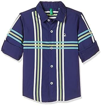 United Colors of Benetton Boys' Striped Regular Fit Shirt (18P5POPC0KZ2I_903_Blueprint_2Y)