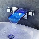 GAO® Rubinetto pieno rame seduta singola maniglia singolo foro lavabo bagno armadio LED tre colori di controllo temperatura colore luce calda e fredda cascata rubinetto