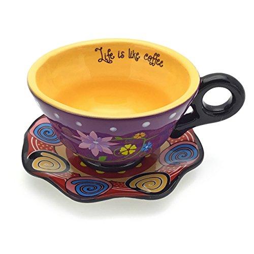el & groove Tee-Tasse mit Untersetzer mit Blumen Design | 2-Teiliges Porzellan-Geschirr | Handbemalte Kaffeetasse | Bunte Geschenkidee | Lila Gelb