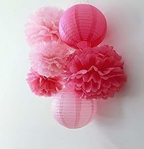 Lot de 6 pompons en Papier lanternes en Papier pour mariage et fête-Guirlande de décoration d'anniversaire de mariage