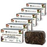 Pranaturals - Sapone nero africano 6 x 200 g, grezzo e 100% organico, saponetta da 200 g, eticamente ottenuto e realizzato a mano in Ghana, adatto per tutti i tipi di pelle