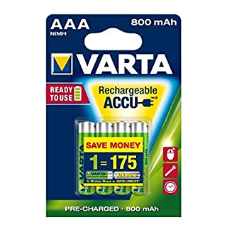 Varta Power Rechargeable Battery Ready2Use Toys Micro AAA 4er Blister, 1,2V, NiMH