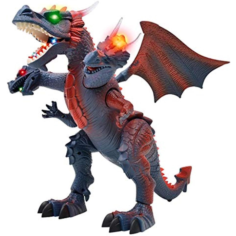WSWJJXB Jouet Intelligent Intelligent Intelligent de Dinosaure électrique télécommandé pour Enfants à Trois têtes de Dragon (Couleur : Gray) 7f0c5e