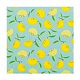 Tissu coton enduit citron - Jaune - Bleu - Largeur 160 cm- Longueur au choix par 50cm