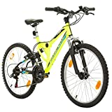 Fahrrad MTB Mountainbike Fully Full Suspension 24 Zoll Bikesport PARALLAX Shimano 18 Gang (Neongrün)