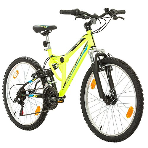 Fahrrad MTB Mountainbike Fully Full Suspension 24 Zoll Bikesport PARALLAX Shimano 18 Gang (Neongrün) -