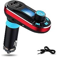 Trasmettitore FM Bluetooth, Yokkao® Lettore MP3 da Auto Bluetooth Supporta Chiamata Vivavoce/ TF/ Penna USB/ AUX/ FM, con Dual Porte USB per Ricaricare Smartphone/ Tablet/ iPhone 6s/ iPhone 6s Plus/ Huawei/ iPad (Rosso)