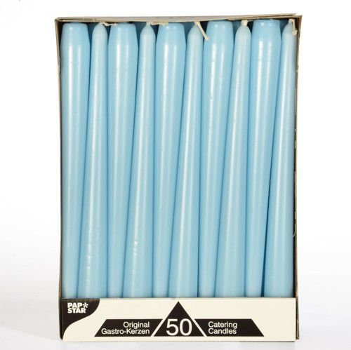 50 Leuchterkerzen Ø 2,2 cm 25 cm hellblau Spitzkerzen
