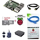 #4: Raspberry Pi 3 Model B+ - Official Complete Kit (RPi 3 Model B+, Case, Adapter, NOOBS card, HDMI Cable, LAN Cable) (16GB NOOBS, 5V 2.5A Stontronics Adapter, Official Black Case)