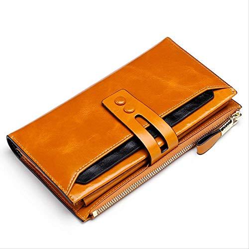 Brown Ladies Long Wallet, Ölwachs-Leder-Geldbörse, -2 Schichten (Wallet Satin-long)