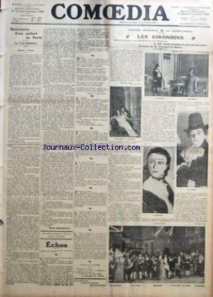 COMOEDIA [No 1567] du 14/01/1912 - SOUVENIRS D'UN ENFANT DE PARIS-LA VIE MODERNE-DANIEL VIERGE PAR EMILE BERGERAT - THEATRE MUNICIPAL DE LA GAITE-LYRIQUE-LES GIRONDINS-DRAME LYRIQUE EN CINQ ACTES ET SIX TABLEAUX DE MM. ANDRE LENEKA ET PAUL DE CHOUDENS-MUSIQUE DE M. FERNAND LE BORNE.