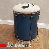 Kinderzimmer Hocker Music mit Staufach Metall Vintage-Look Musik Shabby Sitzhocker Aufbewahrungsbox Kinderhocker Drum