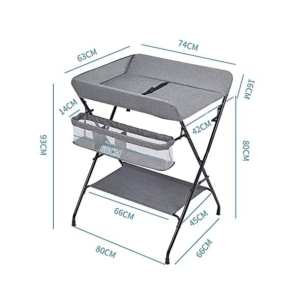 Baby Changing Table, Multifunction Massage Table with Storage, Diaper Station Collapsible GUYUE Storage: Storage basket, bottom shelf. Steel pipe + Oxford cloth + Waterproof support plate.(The diaper table has a bearing capacity of 20kg.) Size- As shown, 74x63x93cm(1cm=0.39 inch) Suitable for babies weighing less than 20kg. 2