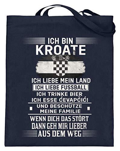 Kroatien Shirt/Ich bin Kroate liebe mein Land Fussball trinke Bier esse cevapcici aus dem Weg - Jutebeutel (mit langen Henkeln) -38cm-42cm-Deep Blue -