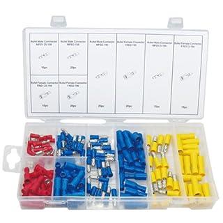 140 x Rundsteckverbinder Kabelschuh Presskabelschuh Rundstecker/Rundsteckhülse ROT BLAU GELB (im Aufbewahrungsbox/Sortimentsbox)