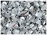30stk 4mm MC Bicone Beads - Tschechische Glasperlen in Form eines facettierten Doppelkegels, hergestellt durch maschinelles Schneiden, Crystal Full Labrador (Silver Metallic)