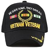 The Hat Depot 1100 Official Licensed VIETNAM VETERAN 3D Baseball Cap (Black Vet)