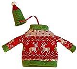 Weihnachtsrotwein-Flaschen-Abdeckung, gestrickte Strickjacke-Abdeckung [A]
