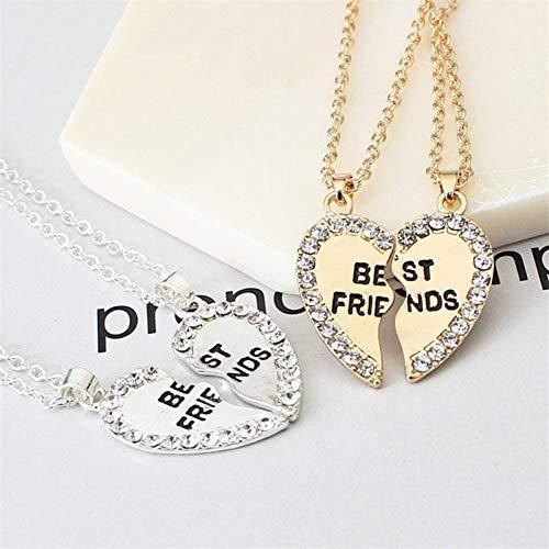AK-Z Halskette Herz 2 Stücke Herz Halskette Frauen Anhänger Schmuck BFF Anhänger Bester Freund Halskette Silber Kette Silver