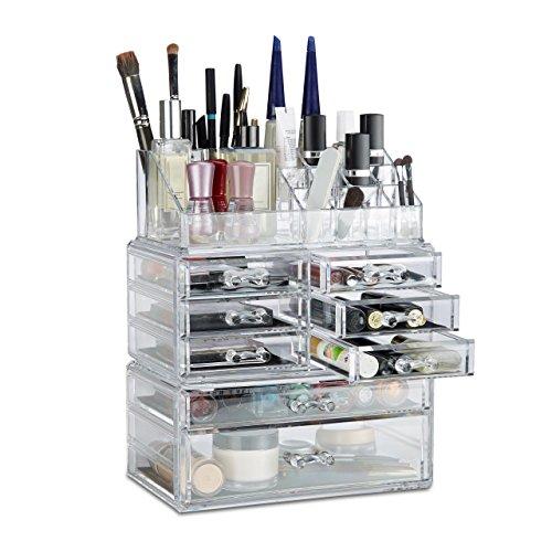 Relaxdays Make Up Organizer mit Schubladen, stapelbarer Schmuckkasten f. Make Up, Acryl Schminkaufbewahrung, transparent (Acryl Schublade Make-up)