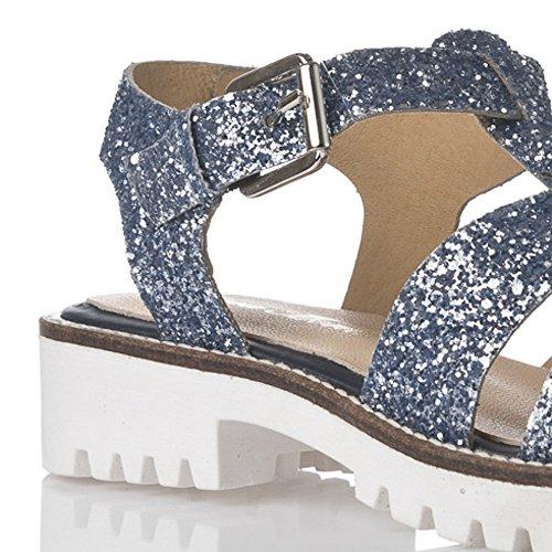 Laura Moretti - Sandali di glitter blu. Blu