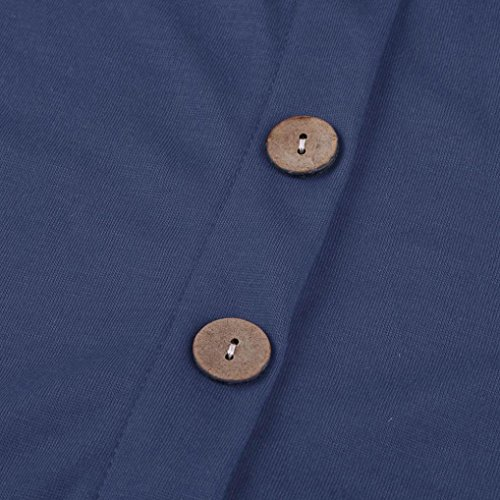 Fulltime® Femmes manches longues bouton découpé blouse couleur unie col rond tunique t-shirt Bleu foncé