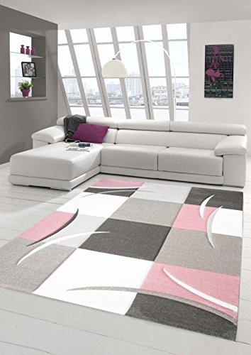 Traum Teppich Designerteppich Moderner Teppich Wohnzimmerteppich Kurzflor Teppich mit Konturenschnitt Karo Muster Rosa Weiß, Größe 120x170 cm (Rosa-weiß-teppich)