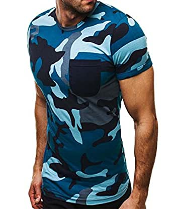 42de7ba95354 Mode Persönlichkeit Camouflage Herren Casual Slim Kurzarm-Shirt ...