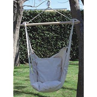 Sedia poltrona a dondolo in cotone con traversa di sostegno colore naturale 100 x 90 cm