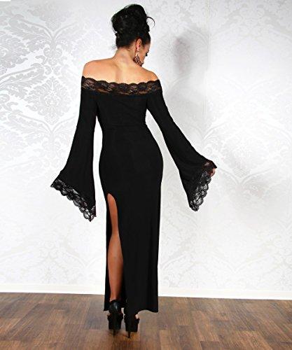 Sofisticato abito lungo con rifiniture in pizzo Nero