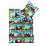 CelinaTex 2-TLG. Kinder-Bettwäsche 135 x 200 cm Baumwolle Renforcé 4-Jahreszeiten Bettbezug Fashion Fun 0003360 grün blau weiß rot Polizei Feuerwehr