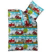 2-tlg. Kinder-Bettwäsche 135 x 200 cm Baumwolle Renforcé 4-Jahreszeiten CelinaTex 0003360 grün blau weiß rot Polizei Feuerwehr