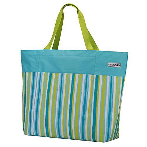 anndora XXL Shopper hellblau Limette - Strandtasche 40 Liter Schultertasche Einkaufstasche