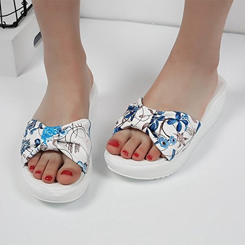 OME&QIUMEI Studenten Coole Schuhe Sommer Hausschuhe Aus Erde Und Dem Flachen Boden 37 Blue - Erde-schuh-sandalen Frauen