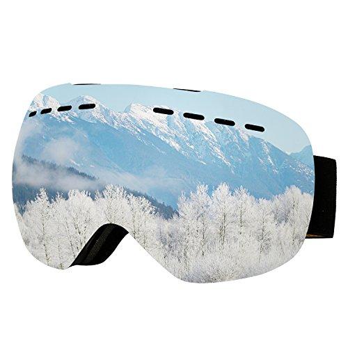 Supertrip Skibrille Herren Damen Snowboardbrille für Brillenträger Antifog 100% UV400 schutz (One Size, Silber (VLT 9,75%)) (Leitet Feuchtigkeit Ab Innenfutter)