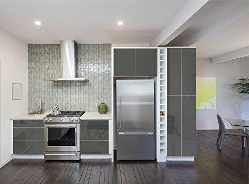 Aufkleber für Küchenschränke 63x500cm GLANZ - Folie aus hochwertigem PVC Tapeten Küche Klebefolie Möbel wasserfest für Schränke selbstklebende Folie Küchenfolie Dekofolie - Dunkelgrau