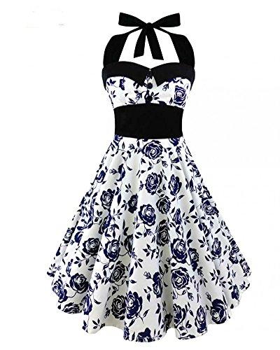 Damen Retro Rockabilly Cocktail Kleid-BiilyLi 50S Schöne und elegante Vintage Skull Print Abendkleid Hepburn Kleider Swing Kleid Abendkleid Partykleid Vintage Skull Print Dress (2XL, Blau) (Schöne Vintage-print-kleid)