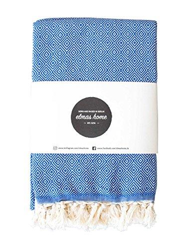 Couvre Lit + Serviette de Plage + Plaid Canapé + Picnic Blanket + Plaid Voiture - 100% Coton - Versatile - Style Vintage - 240 x 200 cm XXL - Couleur Bleu Océan - CLASSI DIAMOND par Elmas Home