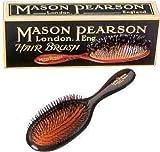 Mason Pearson Haarbürste Handy Mixte BN3 mit reinen Wildschweinborsten und weißen Nylonstiften, 12-reihig