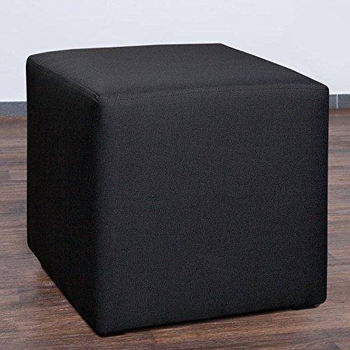 Möbelbär 8008-14 Sitzwürfel 45 x 45 x 45 cm, bezogen mit hochwertigem Sawanna Struktur, Webstoff, schwarz (14 Hocker)