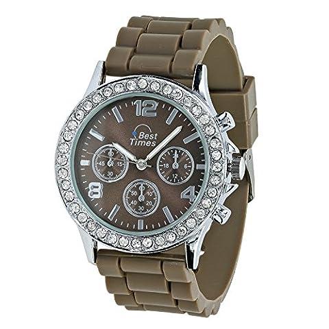 Best Times Uhr Damen-Armanduhr Quarz Chrono Look Kristall Lünette Silikonarmband taupe
